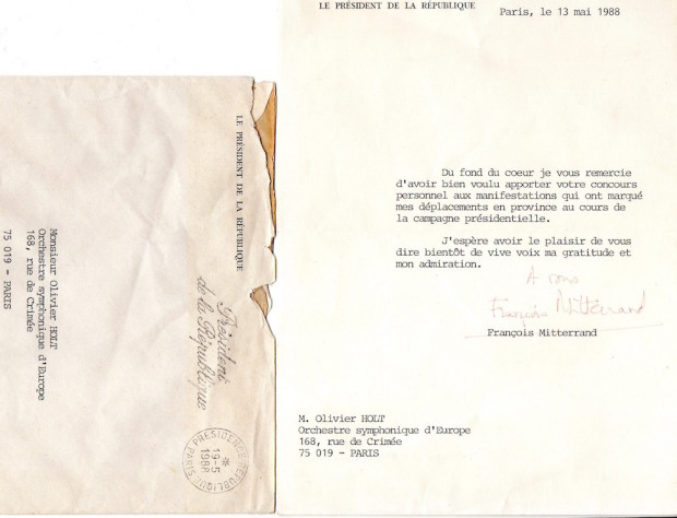 13 mai 1988 - Lettre de François Mitterrand à Olivier Hot, chef de l'Orchestre Symphonique d'Europe