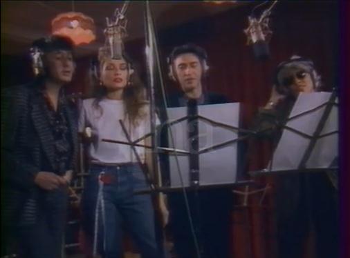 Enregistrement du clip Douce France campagne François Mitterrand 1988 (photo capture d'écran archive INA)