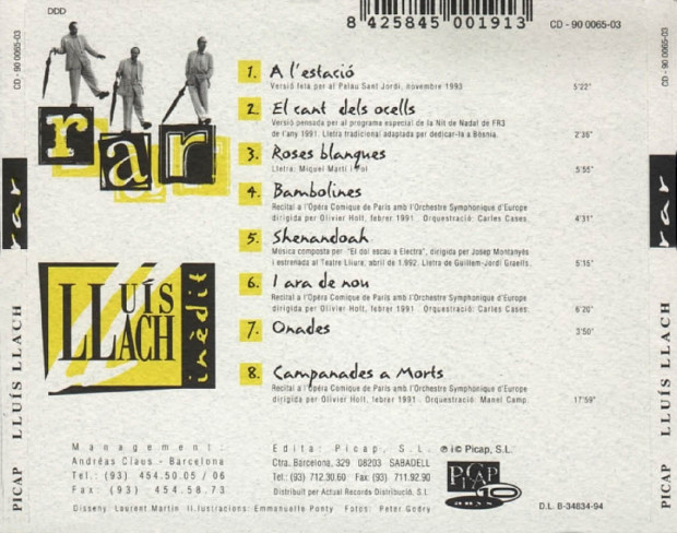 Lluis Llach 4ème de couverture pochette Rar