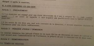 Extrait contrat de travail Orchestre Symphonique d'Europe (L'Orchestre Symphonique d'Europe par Christiane Bruere-Dawson)