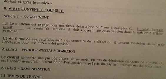 Extrait contrat de travail Orchestre Symphonique d'Europe (merci à Pierre Jélocha)